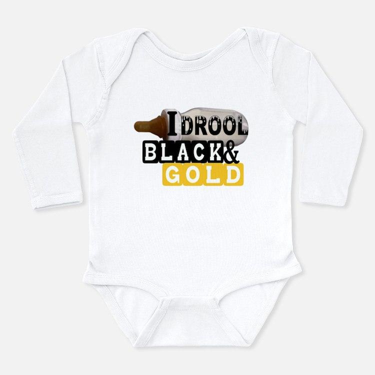 black & gold Long Sleeve Infant Bodysuit