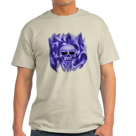 Skull in Flames (blue) Light T-Shirt