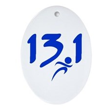 Blue 13.1 half-marathon Ornament (Oval)