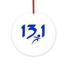 Blue 13.1 half-marathon Ornament (Round)