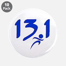 """Blue 13.1 half-marathon 3.5"""" Button (10 pack)"""