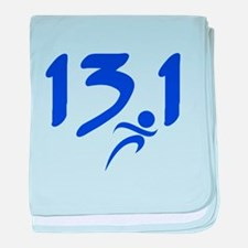 Blue 13.1 half-marathon baby blanket
