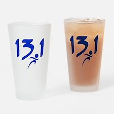 Blue 13.1 half-marathon Drinking Glass