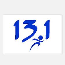 Blue 13.1 half-marathon Postcards (Package of 8)
