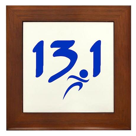 Blue 13.1 half-marathon Framed Tile