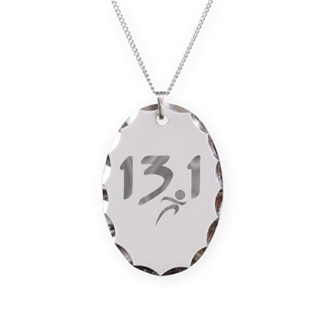 Silver 13.1 half-marathon Necklace Oval Charm