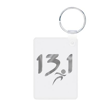 Silver 13.1 half-marathon Aluminum Photo Keychain