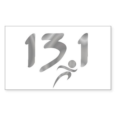 Silver 13.1 half-marathon Sticker (Rectangle)