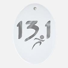 Silver 13.1 half-marathon Ornament (Oval)