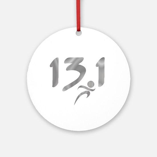 Silver 13.1 half-marathon Ornament (Round)