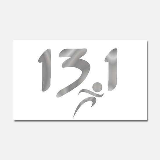 Silver 13.1 half-marathon Car Magnet 20 x 12
