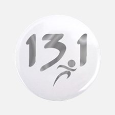 """Silver 13.1 half-marathon 3.5"""" Button"""