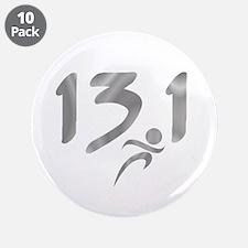 """Silver 13.1 half-marathon 3.5"""" Button (10 pack)"""