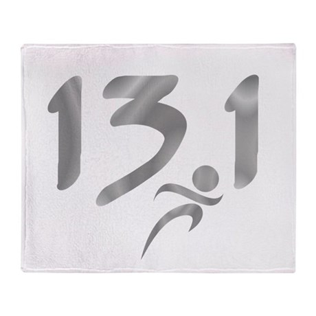 Silver 13.1 half-marathon Throw Blanket