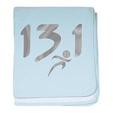 Silver 13.1 half-marathon baby blanket