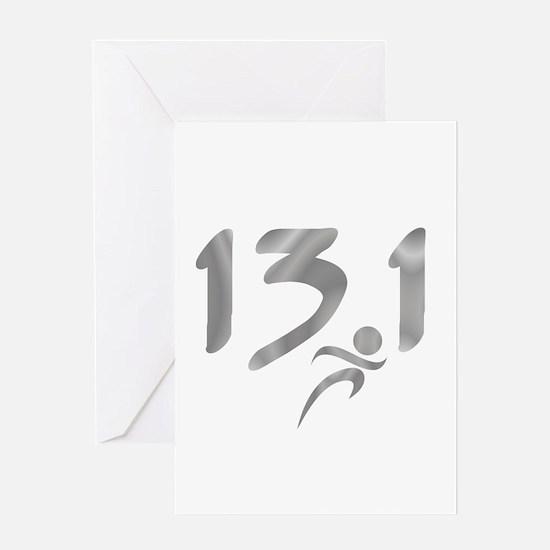 Silver 13.1 half-marathon Greeting Card