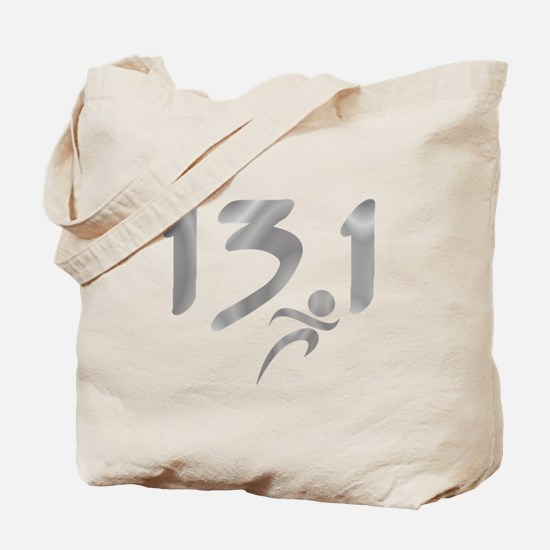 Silver 13.1 half-marathon Tote Bag