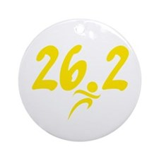 Yellow 26.2 marathon Ornament (Round)