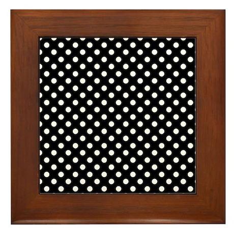 Black and White Polka Dot Framed Tile