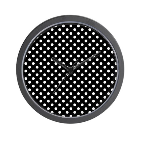 Black and White Polka Dot Wall Clock