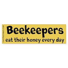 Beekeepers Eat Honey bumper sticker (gold & bl