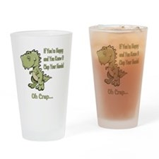 Happy TRex Drinking Glass