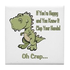 Happy TRex Tile Coaster