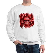 Skull in Flames, (red) , Sweatshirt