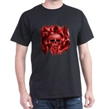 Skull in Flames, (red) , T-Shirt
