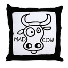 Mad Cow Throw Pillow