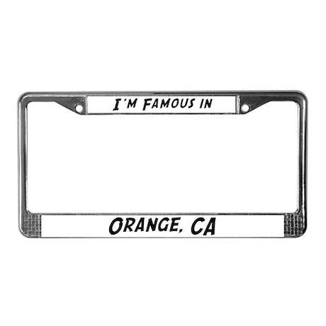 Famous in Orange License Plate Frame