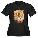 Lion Women's Plus Size V-Neck Dark T-Shirt