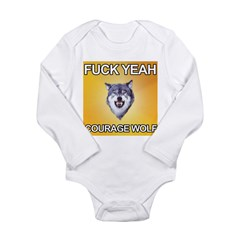 yeah courage wolf Long Sleeve Infant Bodysuit