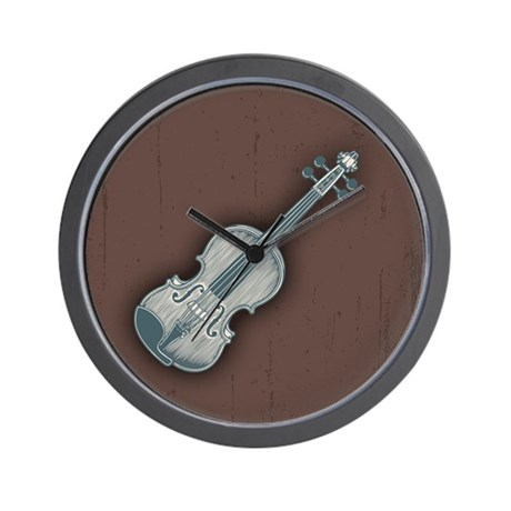 Blue Violin Wall Clock