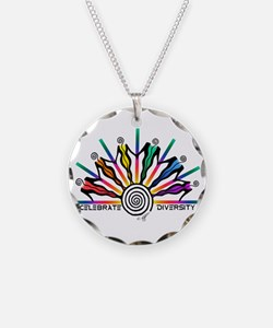 Celebrate Diversity Necklace Circle Charm