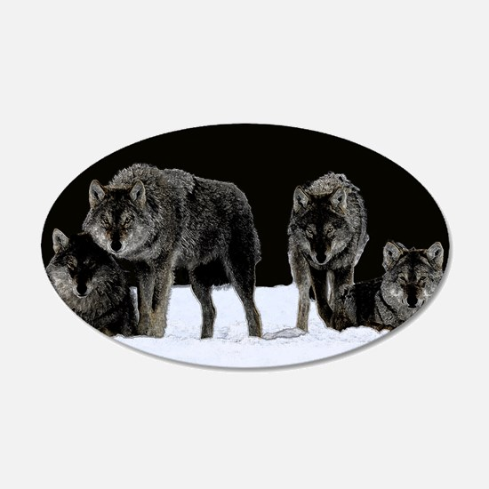 Dark Wolves 22x14 Oval Wall Peel