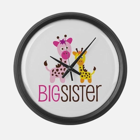 Giraffe Big Sister Large Wall Clock