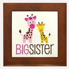 Giraffe Big Sister Framed Tile