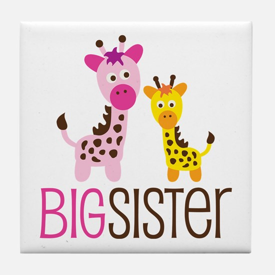 Giraffe Big Sister Tile Coaster