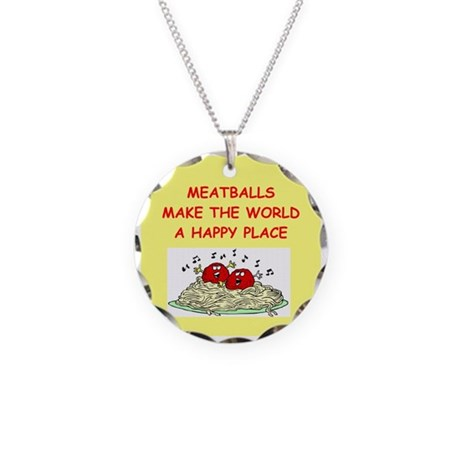 meatballs Necklace Circle Charm