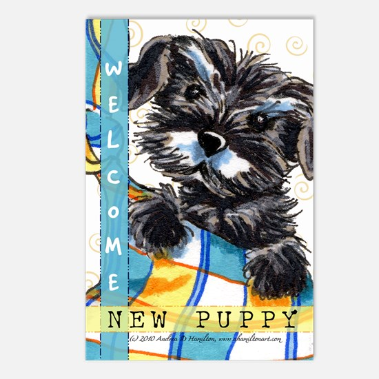 Schnauzer New Puppy Postcards (Package of 8)