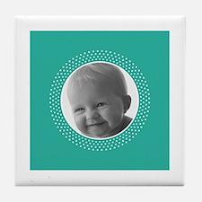 ADD PHOTO - polka dot border Tile Coaster