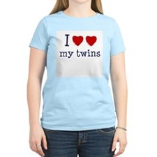 I heart heart my twins Women's Pink T-Shirt