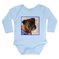 Patriotic Boxer dog Long Sleeve Infant Bodysuit