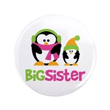 "2 Penguins Big Sister 3.5"" Button"