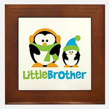2 Penguins Little Brother Framed Tile