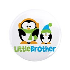 "2 Penguins Little Brother 3.5"" Button"