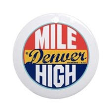 Denver Vintage Label Ornament (Round)