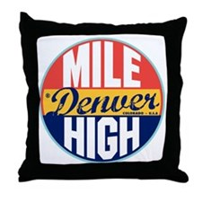 Denver Vintage Label Throw Pillow