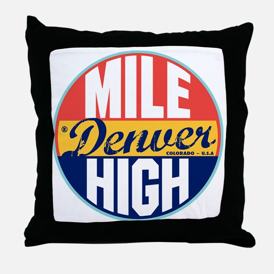 Denver Vintage Label Throw Pillow